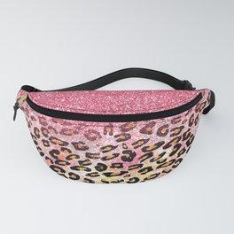 Cute girly trendy bubble gum pink faux glitter leopard animal print pattern Fanny Pack