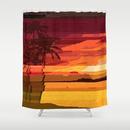 Tropical Glitchset Shower Curtain