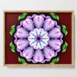 Purple White Flower on Burgundy Serving Tray