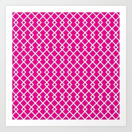 Hot Pink Diamond Pattern Art Print
