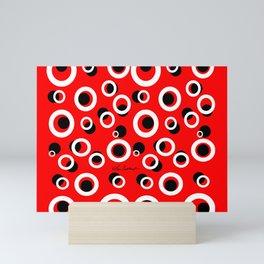 Red White Black Circles Mini Art Print