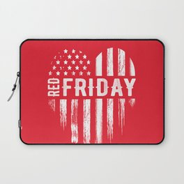 Red Friday Distressed USA Heart Military Laptop Sleeve