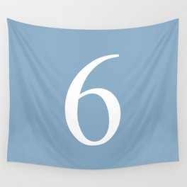 number six sign on placid blue color background Wall Tapestry