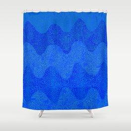Under the Influence (Marimekko Curves) Feeling Blue Shower Curtain