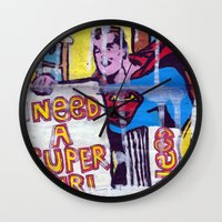 supergirl Wall Clocks featuring I Need a Supergirl by Ibbanez