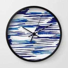 Shibori Paint Vivid Indigo Blue and White Wall Clock
