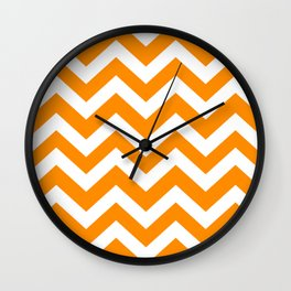 Dark orange - orange color - Zigzag Chevron Pattern Wall Clock