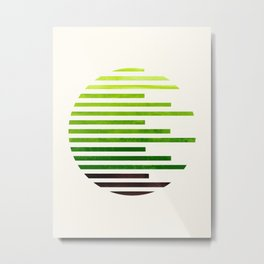 Mid Century Modern Minimalist Circle Round Photo Sap Green Staggered Stripe Pattern Metal Print