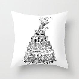 Death Cake and bird Throw Pillow