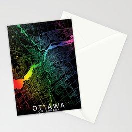 Ottawa, Canada, City, Map, Rainbow, Map, Art, Print Stationery Cards