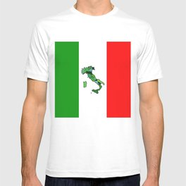 Map of Italy and Italian Flag T-shirt