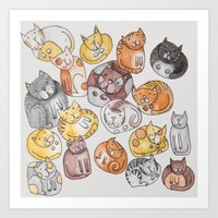 a lot of cats Art Prints featuring Lot of cats by Billie La Roche