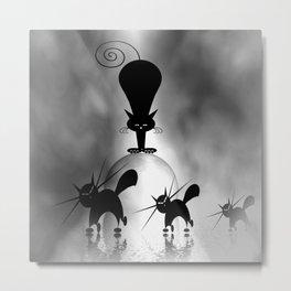 dreaming of mooncats bw -1- Metal Print