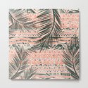 Tropical Aztec    Coral Abstract Aztec Tropical Palm Leaf Pattern by girlytrend