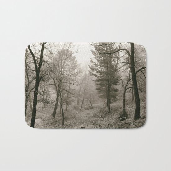 """""""Into the woods IV"""". Foggy forest Bath Mat"""