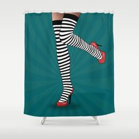 erotic Shower Curtains featuring sexy  by mark ashkenazi