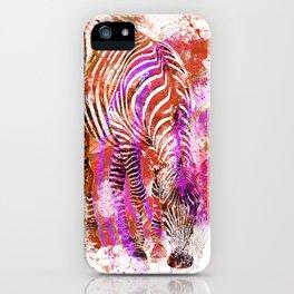 Crazy Zebra paint splatter artwork iPhone Case
