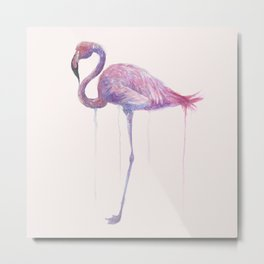 "Watercolor Painting of Picture ""Flamingo"" Metal Print"