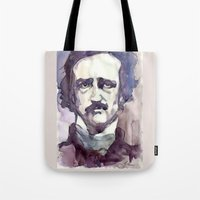 edgar allan poe Tote Bags featuring Edgar Allan Poe by Germania Marquez