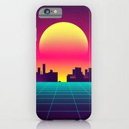 Retro Vaporwave Big City iPhone Case