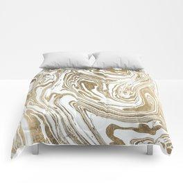 Stylish white faux gold foil elegant marble Comforters