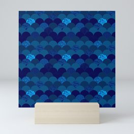 Dark royal blue mermaid scales Mini Art Print