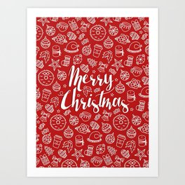 MERRY CHRISTMAS! - Red Pattern Art Print