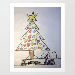 Christmas Tree Train Art Print