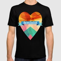 Feminist LARGE Black Mens Fitted Tee