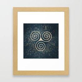 Triskelion Golden Three Spiral Celtic Symbol Framed Art Print