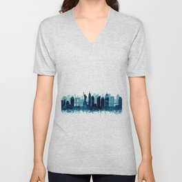 New York Cit Skyline Blue Watercolor by Zouzounio Art Unisex V-Neck