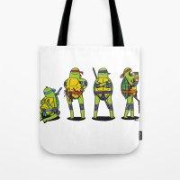teenage mutant ninja turtles Tote Bags featuring Teenage mutant ninja turtles by Nioko