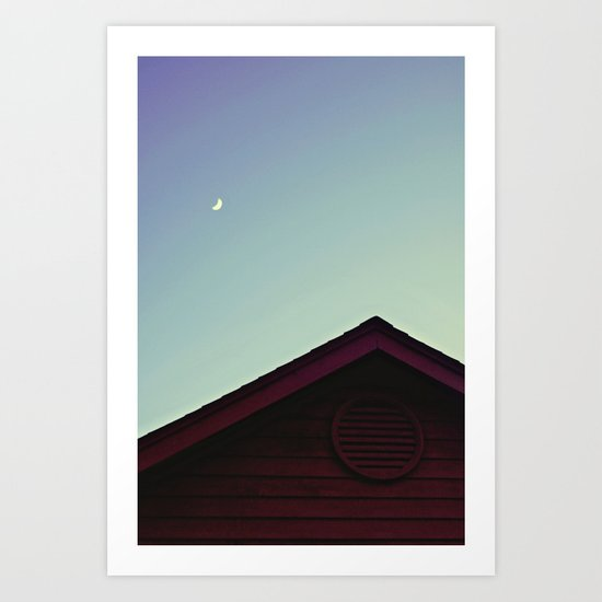 The Moon and The Red House Art Print