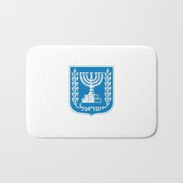 emblem of Israel 1-יִשְׂרָאֵל ,israeli,Herzl,Jerusalem,Hebrew,Judaism,jew,David,Salomon. Bath Mat