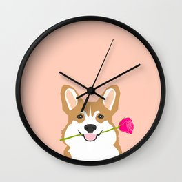 Valentines - Corgi with Rose - Love, Cute Corgi for Corgi Owners, Trendy Girls Love, Valentines Day Wall Clock