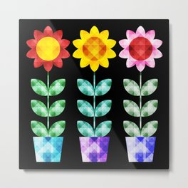 Colorful Faceted Potted Flowers Metal Print