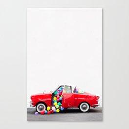 Balloon Car Open Door Canvas Print