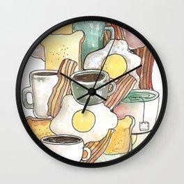 spring breakfast bread egg bacon coffee etc Wall Clock