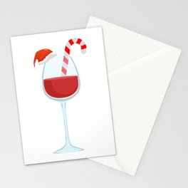Wine Glass Christmas Candy Cane funny gift Stationery Cards