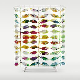 row of colored leaves Shower Curtain