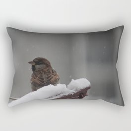 Sparrow & snow Rectangular Pillow