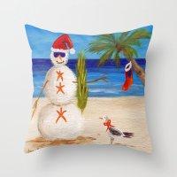 sandman Throw Pillows featuring Christmas Sandman by Vivid Perceptions