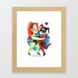 Harley Quinn and Poison Ivy Hug Framed Art Print