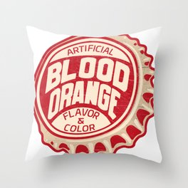 Vintage Blood Orange Soda Pop Bottle Cap Throw Pillow