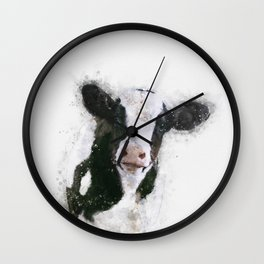 Holstein Cow Watercolor Wall Clock