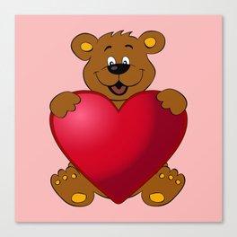 Happy teddybear with heart cartoon Canvas Print
