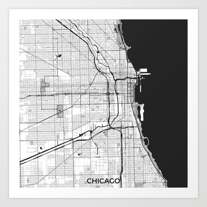 Chicago Map Gray Kunstdrucke