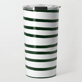 Simply Drawn Stripes in Pine Green Travel Mug