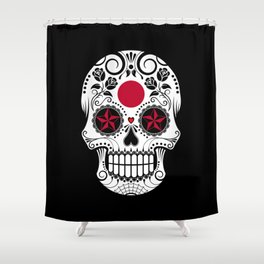 Sugar Skull with Roses and Flag of Japan Shower Curtain