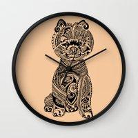 pomeranian Wall Clocks featuring Polynesian Pomeranian by Huebucket